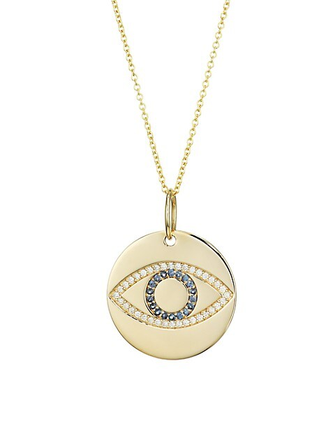 14K Yellow Gold, Diamond & Sapphire Evil Eye Disc Pendant Necklace
