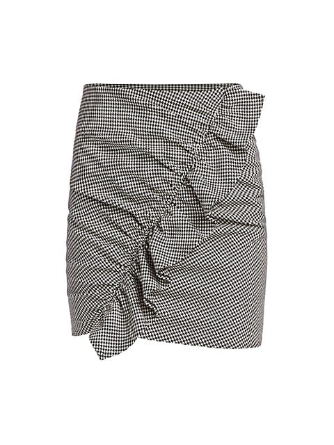 Jupiter Houndstooth Ruffled Mini Skirt