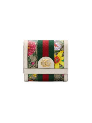 Gucci Wallets Ophidia GG Floral Canvas & Leather Snap Wallet