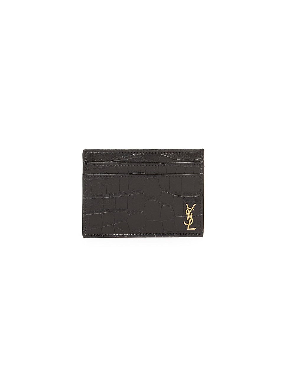 Saint Laurent Men's Croc-embossed Leather Credit Card Holder In Nero