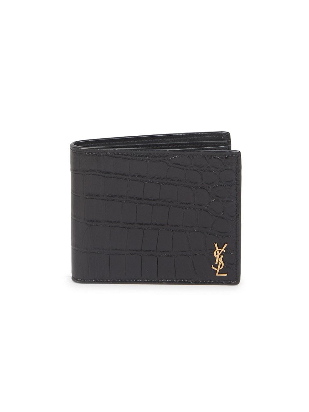 생 로랑 Saint Laurent Crocodile-Embossed Leather Wallet,BLACK