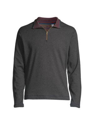 Robert Graham Men's Half-zip Sweater In Medium Heather