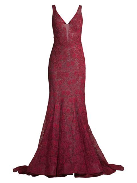 Basix Black Label Lace Mermaid Gown   SaksFifthAvenue