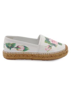 Rose Print Leather Espadrille Flats by Dolce & Gabbana