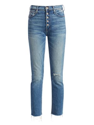 Pixie Dazzler Button Ankle Skinny Jeans by Mother