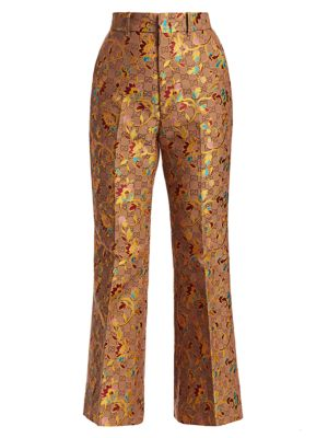 Gucci Pants Ramage-Print Flare Silk & Wool Trousers