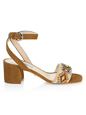 Embellished Embroidered Block Heel Leather Sandals by Prada