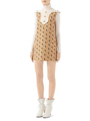 Gucci Dresses Wool & Silk Sleeveless Chains Mini Dress