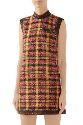 Gucci Dresses Candy Sleeveless Tweed Mini Dress