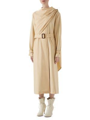 Gucci Coats Wool Drape Front Trench Coat