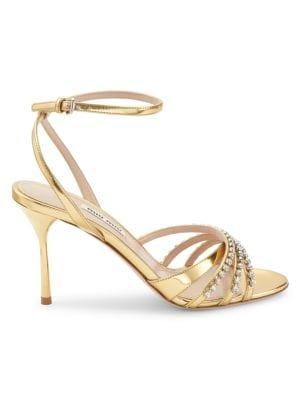 Jewelled Metallic Leather Sandals