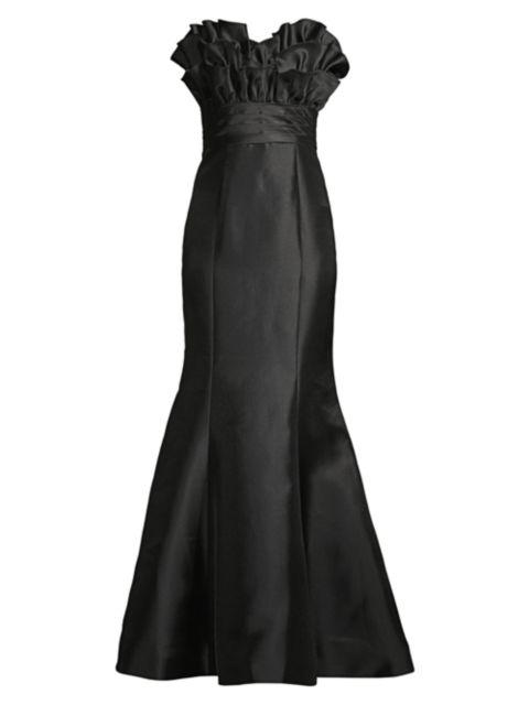 Basix Black Label Ruffled Mikado Mermaid Gown | SaksFifthAvenue