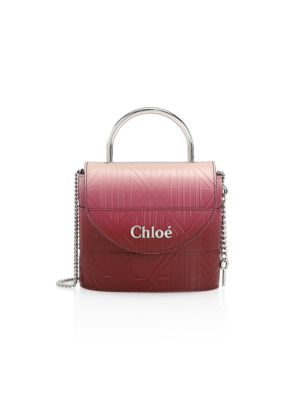 Chloé Women's Aby Ombré Embossed Leather Top Handle Bag In Plum