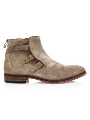 John Varvatos Men's Fleetwood Loop & Bin Suede Chelsea Boots In Brown