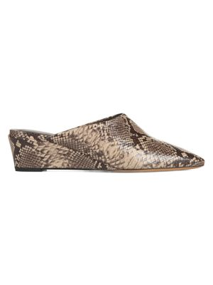 Vince Mules Baxley Snake-Embossed Leather Wedge Mules