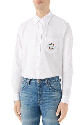 Gucci T-shirts Embroidered Oxford Cotton Shirt