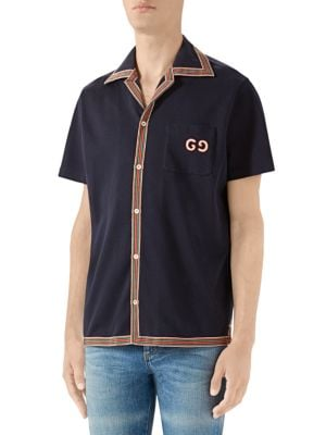 Gucci Tops Cotton GG Embroidery Polo