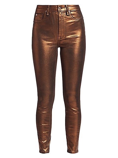 Metallic High-Rise Ankle Skinny Jeans