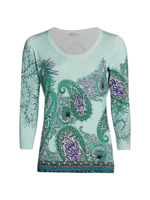 Etro Women's Fern Paisley Scoopneck Sweater In Blue