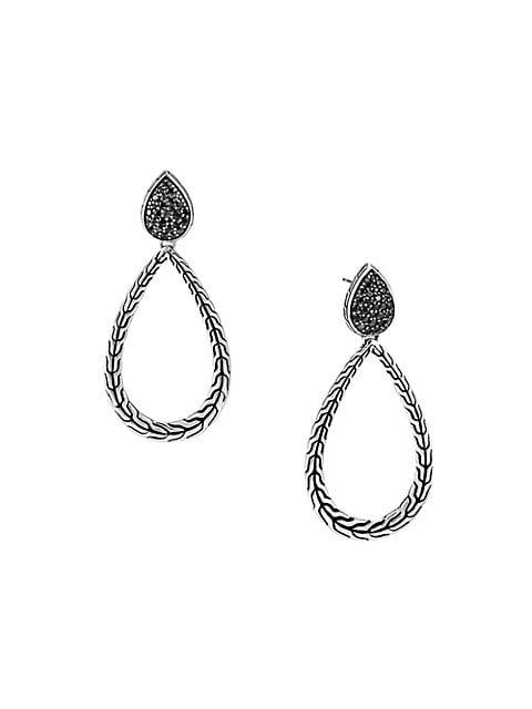 Classic Chain Sterling Silver & Mixed-Stone Pear Hoop Earrings