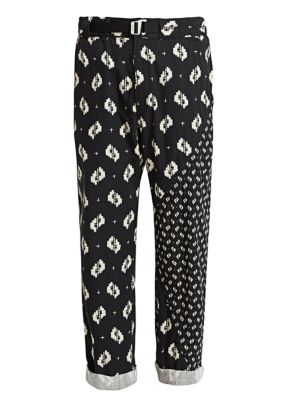 Printed Belted Straight-Leg Pants