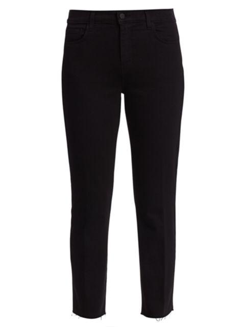 L'Agence Sada High-Rise Crop Slim Straight Jeans | SaksFifthAvenue
