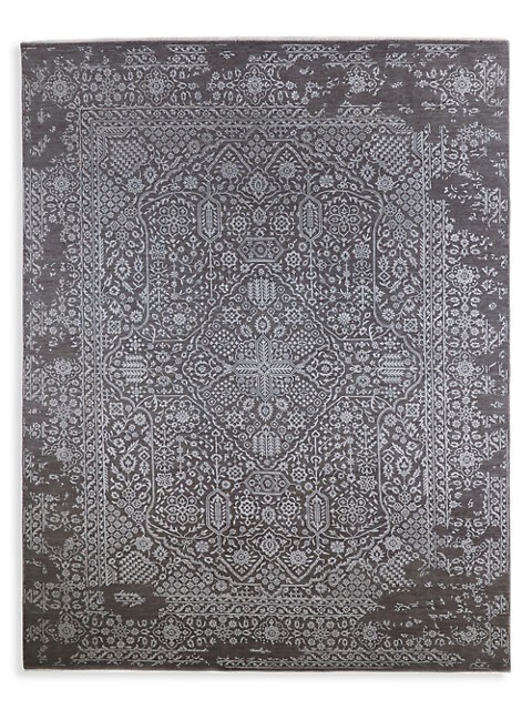 Solo Rugs Modern Pierre Hand Knotted Wool Blend Area Rug Charcoal Saksfifthavenue