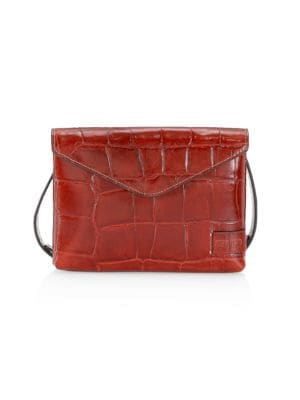 Staud Women's Holly Croc-embossed Leather Wallet-on-strap In Cognac