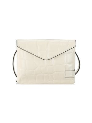 Staud Women's Holly Croc-embossed Leather Wallet-on-strap In Cream