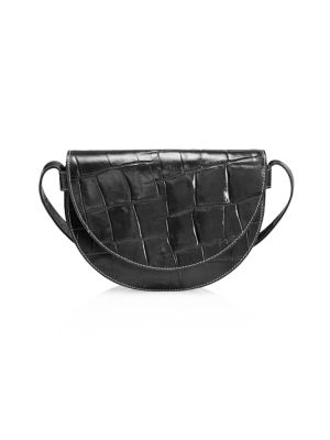 Staud Women's Amal Croc-embossed Leather Shoulder Bag In Black