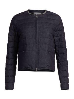 Collarless Chambray Denim Down Puffer Jacket by Fabiana Filippi