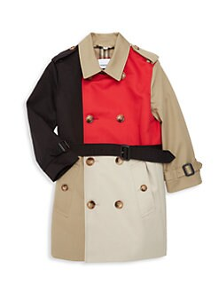 Burberry Little Kids & Kids KB6 Adriel Colorblock Double-Breasted Trench Coat
