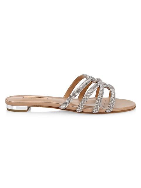Moondust Crystal-Embellished Leather Flat Sandals
