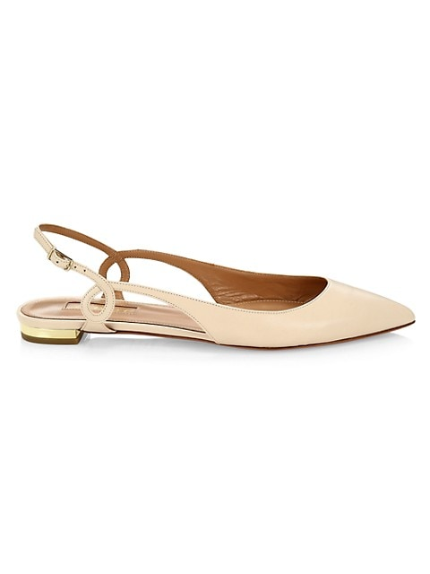 Serpentine Leather Slingback Flats
