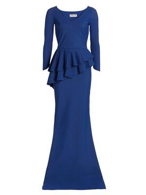 Chiara Boni La Petite Robe Tops Zosia Tier Peplum-Waist Column Gown