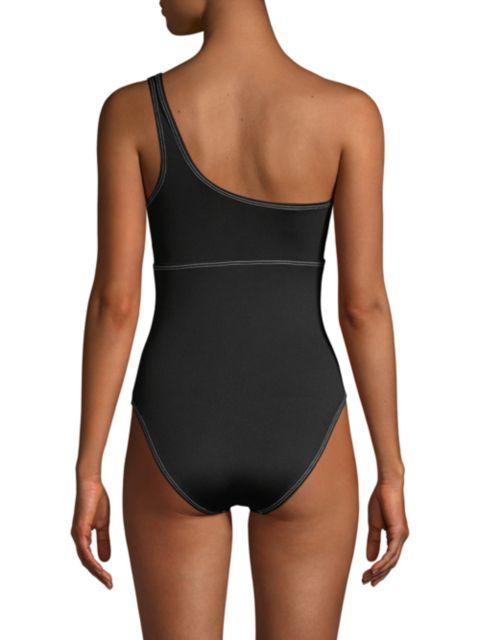 Moschino One-Shoulder Logo One-Piece Swimsuit   SaksFifthAvenue