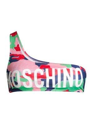 Moschino Women's Multicolor Camo One-shoulder Bikini Top In Pink Multi