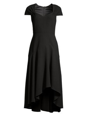 Elie Tahari Phoenix Short-sleeve Asymmetrical Midi Dress In Black