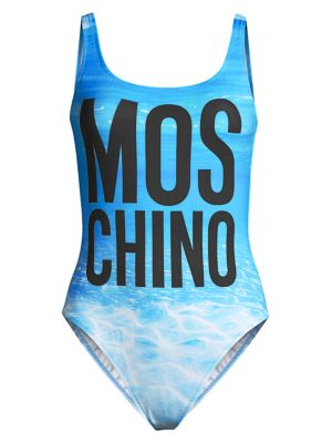 Moschino Women's Lettered Water-print One-piece Swimsuit In Multi