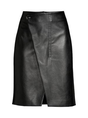 Elie Tahari Skirts Jade Faux-Leather Wrap Skirt