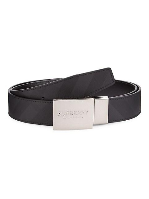 Reversible Logo Plaque Leather Belt