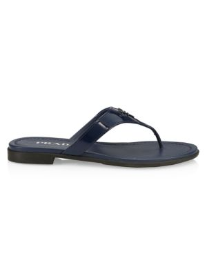 Prada Sandals Logo Patent Leather Thong Sandals