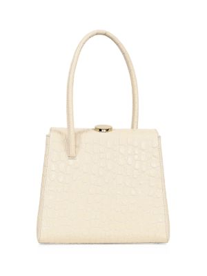 Little Liffner Women's Madame Croc-embossed Leather Top Handle Bag In White Crochet