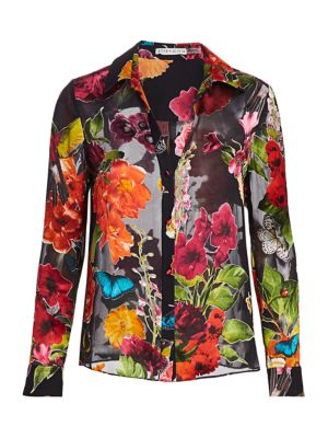 Alice And Olivia Tops Eloise Floral Chiffon-Silk Blouse