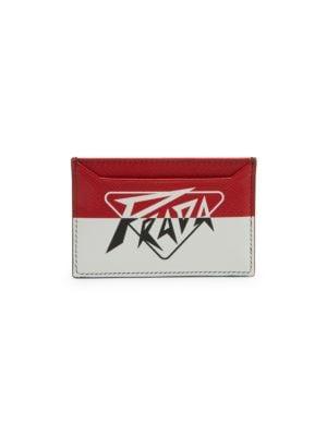 Prada Men's Colorblock Arrow Saffiano Leather Card Case In Red White