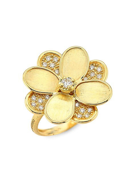 Petali 18K Yellow Gold & Diamond Pavé Flower Ring