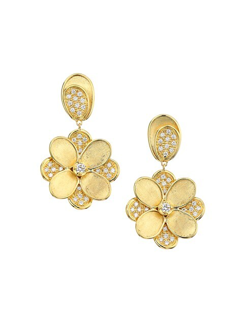 Petali 18K Yellow Gold & Diamond Pavé Flower Drop Earrings