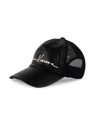 Versace Men's Signature Mix Media Mesh Baseball Cap In Nero