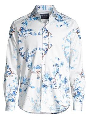 Robert Graham Men's Aiden Tailored-fit Floral Shirt In Blue