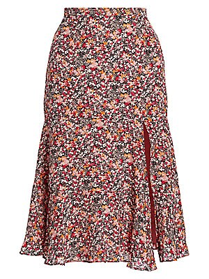 Altuzarra - Clementine Dragon Fruit-print Silk Midi Skirt